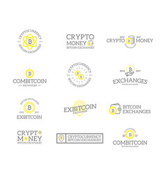 set retro vintage bitcoin and cryptocurrency vector image