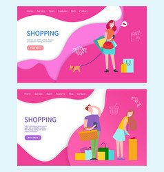 Shopping web pages people buying products in shops vector