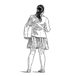 Sketch casual teen girl standing on street vector
