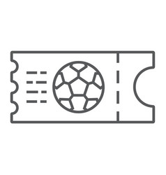 soccer ticket thin line icon game and play vector image