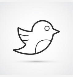 Social bird flat line trendy black icon eps10 vector