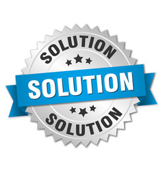 Solution round isolated silver badge vector