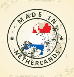 Stamp with map flag of Netherlands vector image