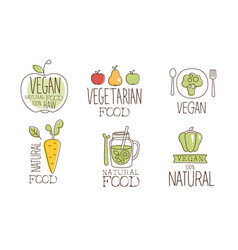 vegan healthy natural food labels set raw vector image