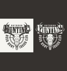 Vintage hunting label vector