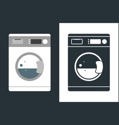washing machine in flat style and icon isolated vector image