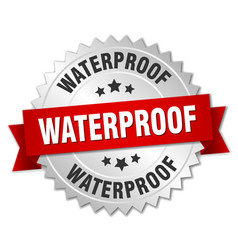 Waterproof round isolated silver badge vector