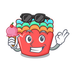 with ice cream baking molds character cartoon vector image