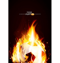 background with a burning soccer Ball vector image vector image