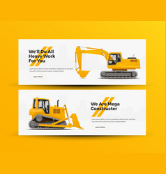construction machinery banners vector image