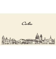 Cuba skyline hand drawn sketch vector image vector image