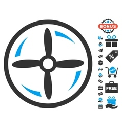 Drone Screw Rotation Icon With Free Bonus vector image vector image