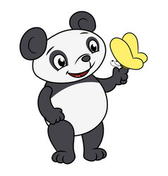 little panda and butterfly 2 vector image vector image