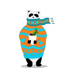 Panda wearing scarf and pullover with cup vector