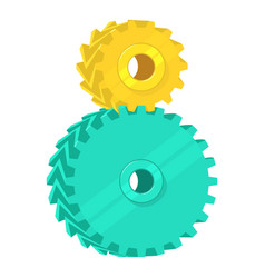 Two cogs icon cartoon style vector
