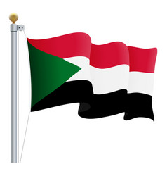 waving sudan flag isolated on a white background vector image
