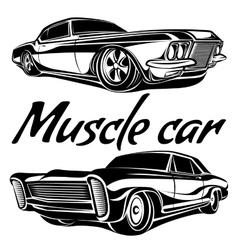 Cars muscle 70s set vector image