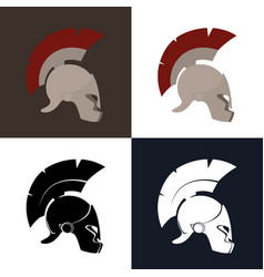 color and silhouette roman helmet vector image