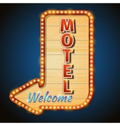 Neon vintage motel sign with light bulbs vector image