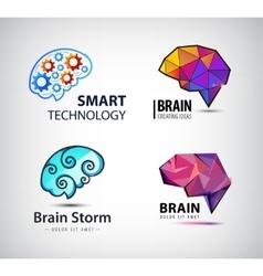 Set of brain technology brainstorm logo vector