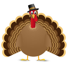 Thanksgiving turkey bird isolated on white vector image vector image
