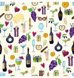Wine and coctail seamless background Holiday vector image vector image