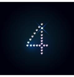 Gems 4 number Shiny diamond font vector image