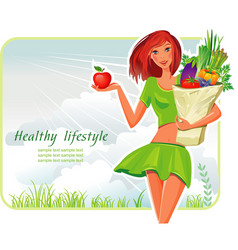 girl with healthy vegetables vector image
