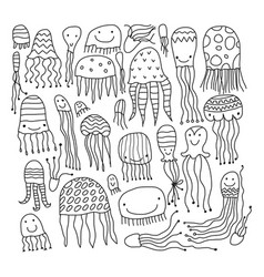 jellyfish collection sketch for your design vector image