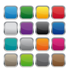 Metallic square buttons vector image vector image