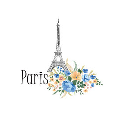 paris background floral paris sign with flowers vector image
