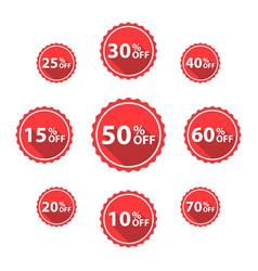 percentage off sale labels red color vector image
