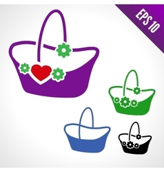 Set of of a basket for flowers vector image