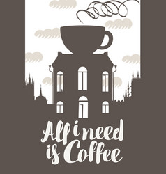 sign coffee house with cup on roof vector image vector image