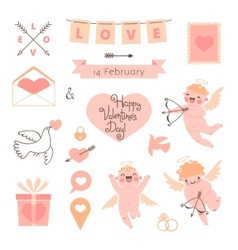 Valentines Day set of elements for design vector image vector image