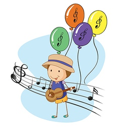 A young musician with balloons at the back vector image