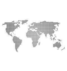 black halftone world map of small dots in linear vector image vector image