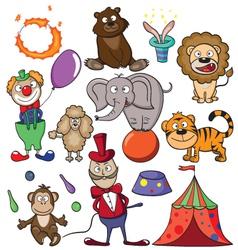 Circus doodle icon set vector image