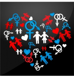 male female icons forming heart vector image