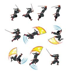 Ninja Flying Attack Game Sprite vector image vector image