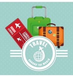 travel around world ticket suitcase luggage label vector image