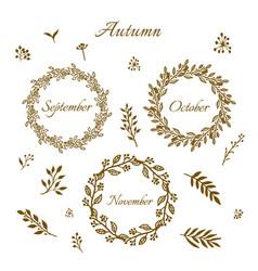 vintage autumn wreaths vector image vector image