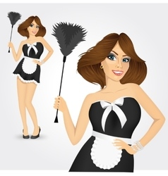 young maid in classic maid dress vector image vector image