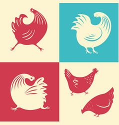 a set of silhouettes of a rooster vector image