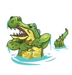 An angry crocodile pointing at himself vector