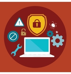 anti virus security computer locked shield flat vector image