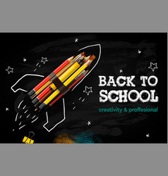 back to school creative banner rocket ship launch vector image