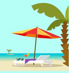 Beach lounge chair near sea and sun umbrella and vector