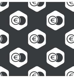 Black hexagon euro coin pattern vector