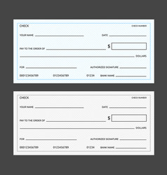 Blank banking checks template vector
